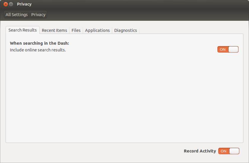 set on or off online search Ubuntu