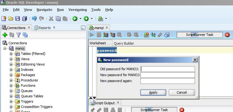 Change password oracle oracle plsql technology blog change password sql developer ccuart Choice Image