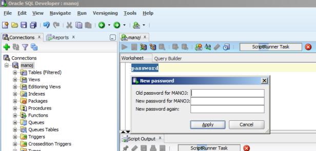change password SQL Developer