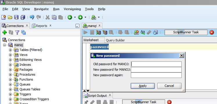 change password SQL Developer