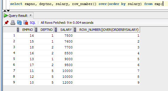 ROW_NUMBER simple example